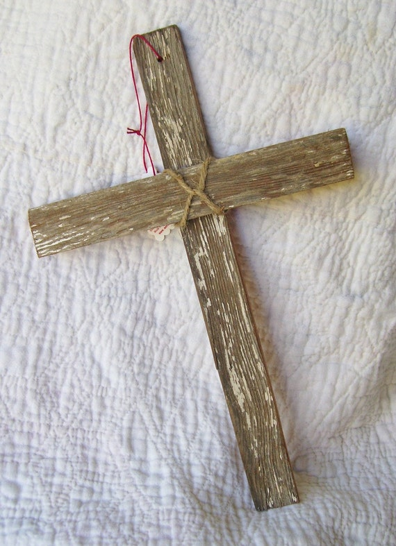 Rustic Vintage Wood Cross Wall Hanging - 12 inches - 70 YEAR OLD WOOD
