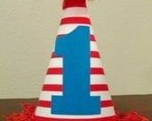 First Birthday Hat - Red & white stripes - Any number available