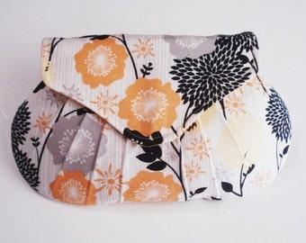 Bridesmaid Clutch, Yellow and Black Purse, Floral Bag, Wedding Clutch
