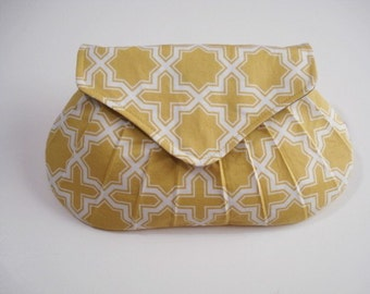 Bridesmaid Gift, Yellow Gold Clutch, Small Purse, Wedding Accessory, Handmade Clutch