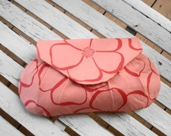 Bridesmaid Clutch in Coral, Small Purse, Pink Floral, Bridal Party Gift