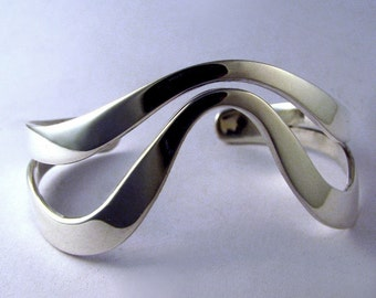 Sterling Silver Bracelet Cuff, Pushed Cuff