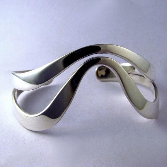 Sterling Silver Bracelet Cuff, Pushed Cuff