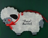 0026 Sheep/Lamb shape.Message shown is a suggestion. Ornaments can be written with a message/name of your choice. All ornaments are dated