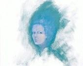 Portrait, small gouache painting