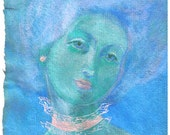 Pink Pearl Portrait, gouache on handmade paper