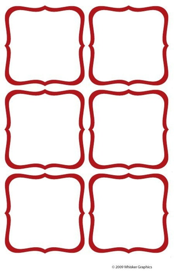- EDITABLE - Scroll Border - RED - 3 inch Labels, Cards, Gift Tags ...