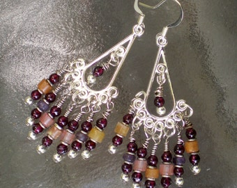 Garnet and Gemstone Chandelier Earrings