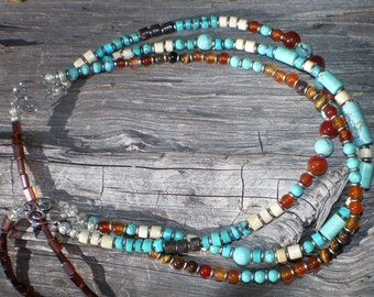 Three Strand Carnelian and Turquoise Necklace