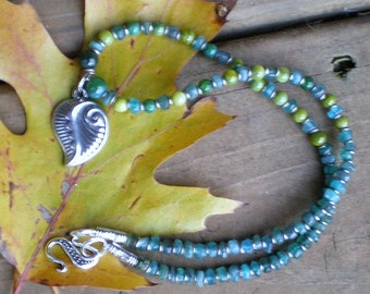 Pewter Leaf and Appatite Necklace