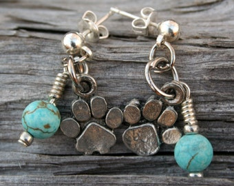 Paw Print and Gemstone Earrings