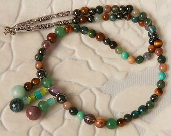 Chunky Semi-Precious Stone Necklace in Jeweltones