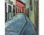 Giclee print, limited edition, Mexican painting, Contemporary abstract painting, 17 x 13, titled Around the Bend,