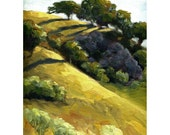 California landscape Giclee art print, oak trees, 12 x 9, titled Golden California Evening, contemporary abstract