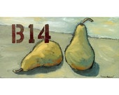 SALE - Before Pears 10 x 20  , ORIGINAL PAINTING on canvas, abstract still life, includes Certificate of Authenticity