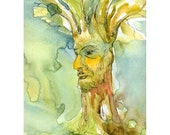 Tree Man - Giclee print of watercolor painting  8 x 11