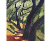 Giclee archival print, California landscape, California oak trees, El Cerrito, Bay Area, 9 x 11, Glimpse Through Trees