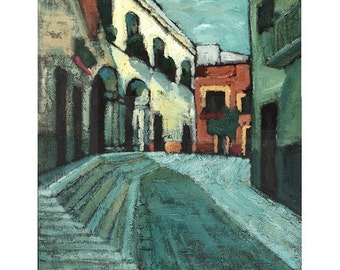 GICLEE Archival Print, limited edition, Mexican painting print, Contemporary painting, 16 x 21, titled Wait Here