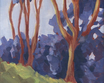 California Landscape, original oil painting, San Francisco Bay Area, Abstract, 10 x 10, titled First Impressions,