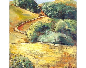 Giclee archival art print, California landscape, 18 x 14, titled California Hills, limited edition, includes Certificate of Authenticity