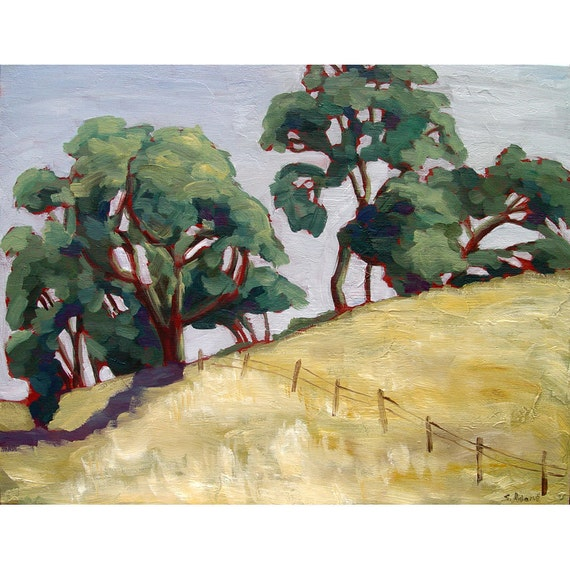 SALE California landscape painting on canvas,   Bay Area, oil painting, 16 x 20,  titled Living Vision, California oak trees,