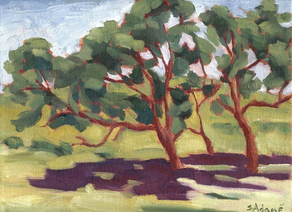 Original oil painting, California landscape, California oak tree painting, 9 x 12, titled Protection, certificate of authenticity