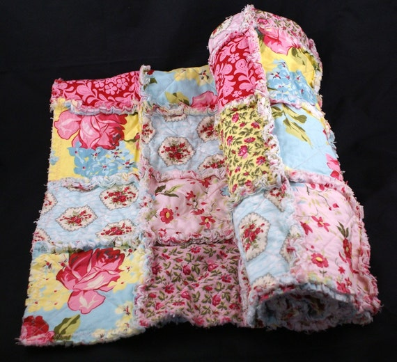 Shabby Chic Savon bouquet Rag Quilt Ready to Ship On Sale Through Sunday