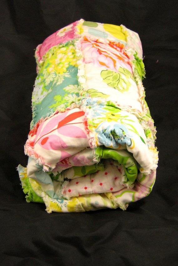 Reserved for Desertsunshine--Rag Quilt--Heather Bailey Nicey Jane Print Rag Strip Quilt