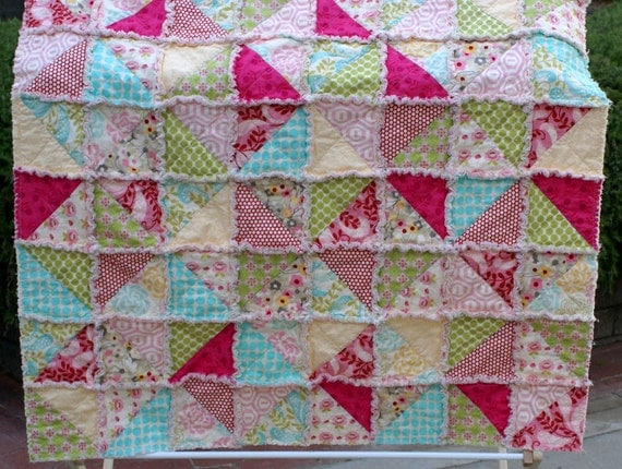 Rag Quilt in Hunky Dory Half Square Triangles Ready to Ship
