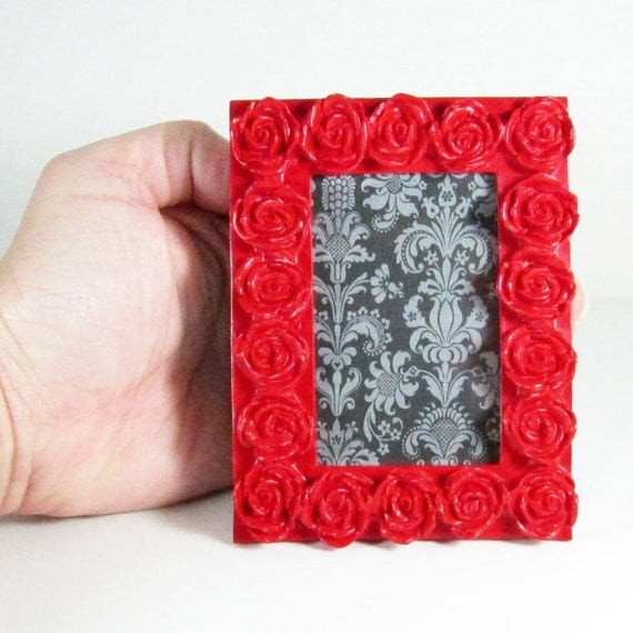 SALE - Lip Stick Red Rose Vintage Rococo Style - picture frame - was 8.50