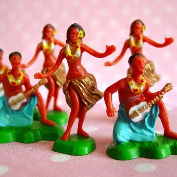 6 Hawaiian Hula Dancer Cupcake Toppers