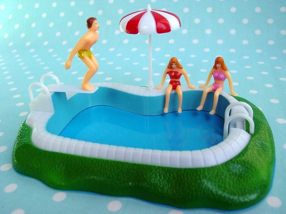 Swimming pool cake topper vintage inspired - Swimming pool birthday cake pictures ...