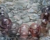 Hollow Lampwork Bead set ( 9 beads) Soft Shadows