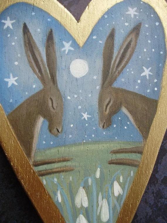 Snowdrop Hares. Original Art On A Wooden Heart