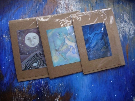 3 Mixed Greeting Cards with Envelopes