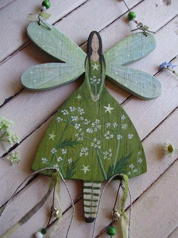 Cow Parsley  Wooden Fairy Hanger