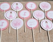 Pink Princess Cupcake Toppers Birthday Party Set of 12 by Belleza e Luce