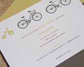 Trio of Bicycles Baby Shower Invitations Gender Neutral set of 10 by Belleza e Luce