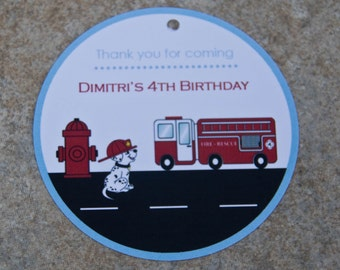 Firetruck Party Favor Tags Birthday Party : Sound the Alarm Firetruck Favor Tag set of 12 by Belleza e Luce