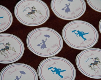 Mary Poppins Party Favor Stickers Jolly Holiday Birthday Party Favor Stickers set of 12 by Belleza e Luce