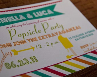 Popsicle Summer Invitation Party Birthday Party Carnival Style Invitation by Belleza e Luce set of 10