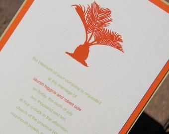 Beach Wedding Invitation Palm Tree Invitation Sago Palm Pocketfold Suite Set of 50 by Belleza e Luce