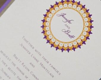 Modern Wedding Invitation Medallion Invitation Layered Purple & Gold Frame Set of 50 by Belleza e Luce