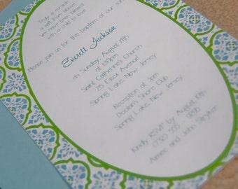 Florentine Tile Wedding Invitation Christening Dinner Party Birthday Invitation Set of 10 by Belleza e Luce