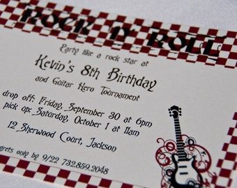Rock Star Party Invitations Rockstar Birthday Party Guitar Invitation set of 10 by Belleza e Luce