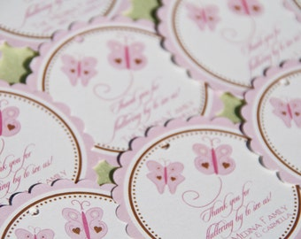 Pink Butterfly Favor Tags Butterflies Baby Shower Party Favor Tags Set of 12 by Belleza e Luce