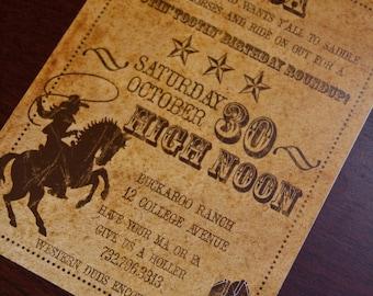 Vintage Inspired Cowboy Invitations | Old West Birthday Party Invitation | Western BBQ Rehearsal Dinner Invites Deposit