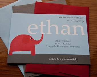 Elephant Birth Announcement Birthday Party Invitation set of 10 by Belleza e Luce