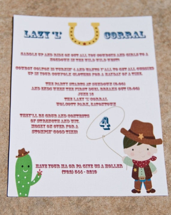 Items similar to Cowboy Birthday Party Invitations Western Party – Wild West Party Invites