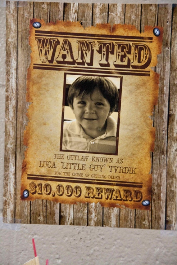 Items similar to Cowboy Wanted Poster Vintage Inspired Party – Old Fashioned Wanted Poster